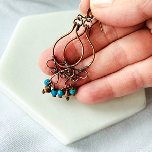 Whimsical | turquoise copper hoop earrings Copper Wire Earring Michelle Louise Inspirations