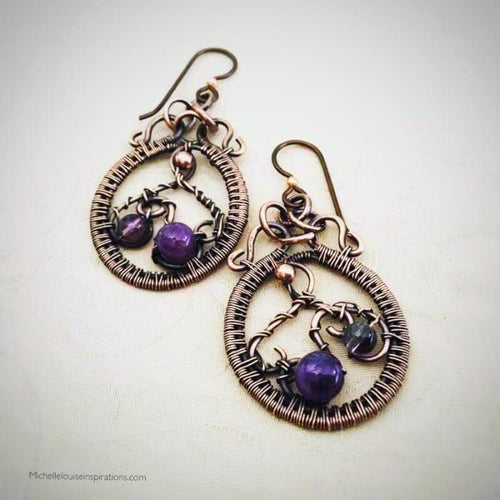 Amethyst copper dangle hoop earrings Copper Wire Wrapped Earring Michelle Louise Inspirations