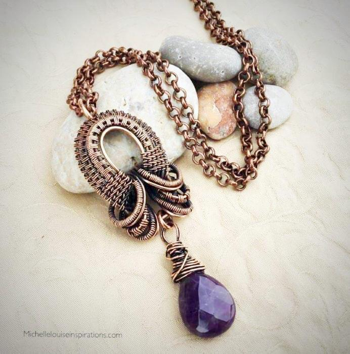 Amethyst Teardrop pendant necklace - Michelle Louise Inspirations