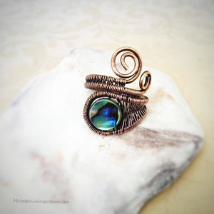 Abalone wire woven adjustable ring Copper Wire Wrap Adjustable Ring Michelle Louise Inspirations