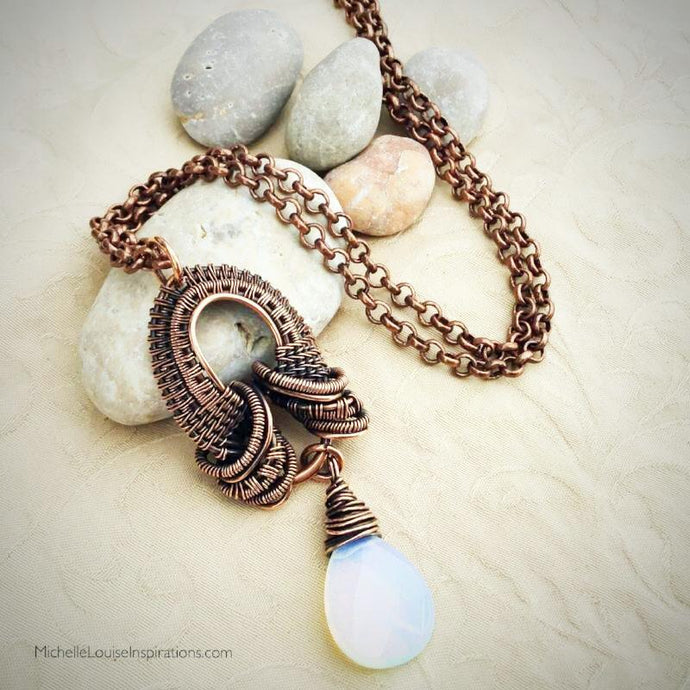 Opalite Bobbin Teardrop Pendant Necklace Copper Wire Wrap Pendant Necklace Michelle Louise Inspirations