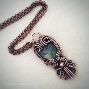 Flashy Earthy Labradorite Copper Wire Wrap Pendant - Michelle Louise Inspirations