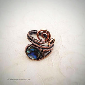 Abalone Wire Wrap Adjustable Ring Wire Wrap Adjustable Copper RingMichelle Louise Inspirations