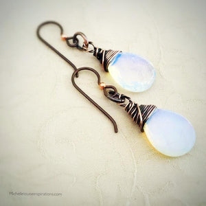 Opalite Teardrop Copper Earrings Copper Wire Wrapped Earring Michelle Louise Inspirations