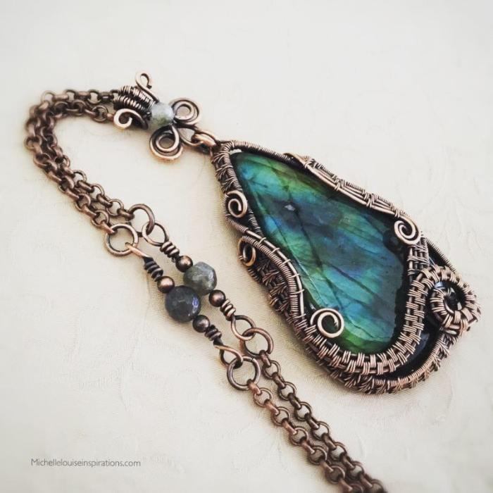 Mystic Blue Labradorite Wire Wrapped Pendant Necklace Wire Wrapped Pendant Necklace Michelle Louise Inspirations