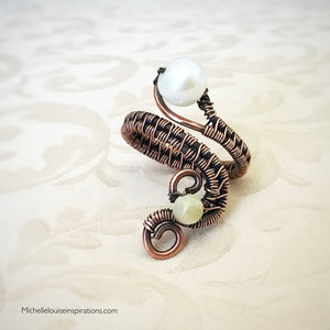 Fresh Water Pearl adjustable copper ring - Michelle Louise Inspirations
