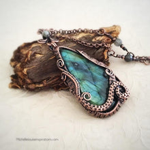 Load image into Gallery viewer, Mystic Blue Labradorite Wire Wrapped Pendant Necklace Wire Wrapped Pendant Necklace Michelle Louise Inspirations