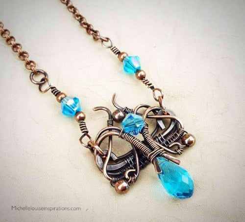 Blue Florence woven wire wrap pendant Copper Wire Wrap Pendant Necklace Michelle Louise Inspirations