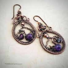 Load image into Gallery viewer, Amethyst copper dangle hoop earrings - Michelle Louise Inspirations