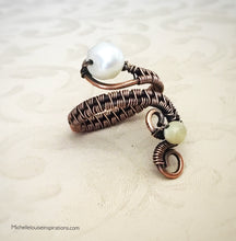 Load image into Gallery viewer, Fresh Water Pearl adjustable copper ring - Michelle Louise Inspirations