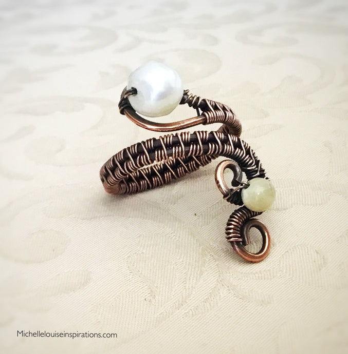 Fresh Water Pearl woven wire wrapped adjustable copper ring