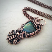Load image into Gallery viewer, Flashy Earthy Labradorite Copper Wire Wrap Pendant - Michelle Louise Inspirations