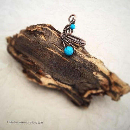 Turquoise Adjustable Copper Ring Wire Wrapped Adjustable Ring Michelle Louise Inspirations