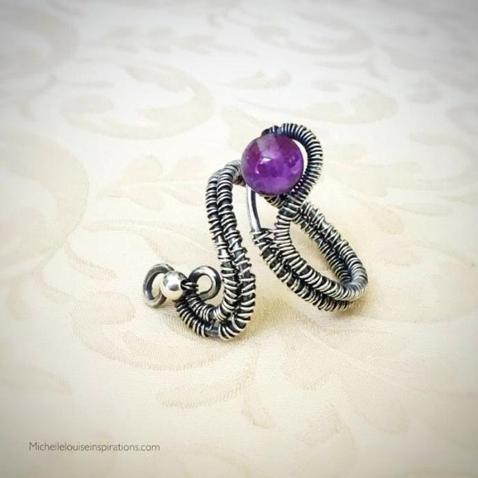 Amethyst Woven Wire Sterling Silver Adjustable Ring Gemstone Wire Wrapped Adjustable RingMichelle Louise Inspirations