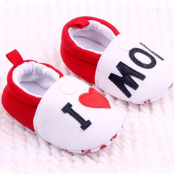 """I Love Dad/Mom"" Newborn Baby Slipper Shoes - Baby Belief"