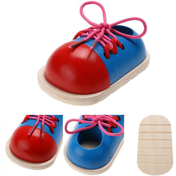 Montessori Lacing Shoes Educational Wooden Toy - Baby Belief