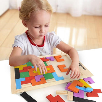 Wooden Jigsaw Tetris Building Blocks Game Teaser Puzzle, 40 pieces - Baby Belief
