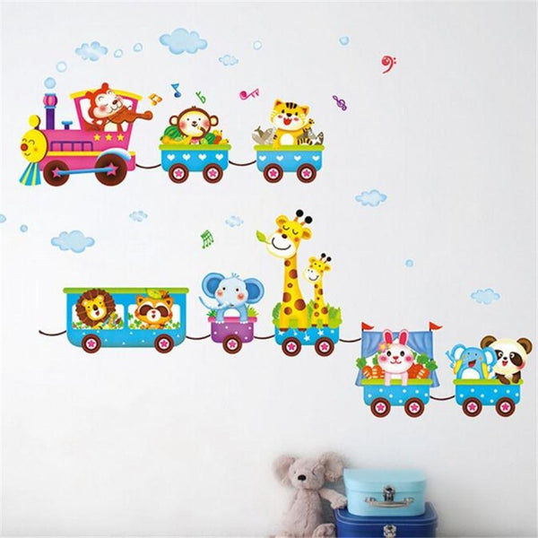Cute Animals Circus Train Wall Art Stickers - Baby Belief