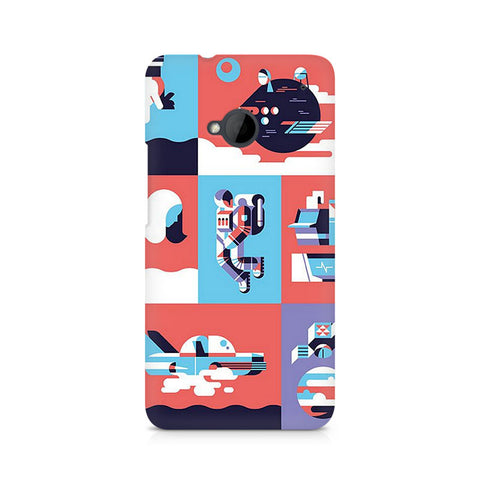 Abstract Travel Premium Printed HTC One M7 Case