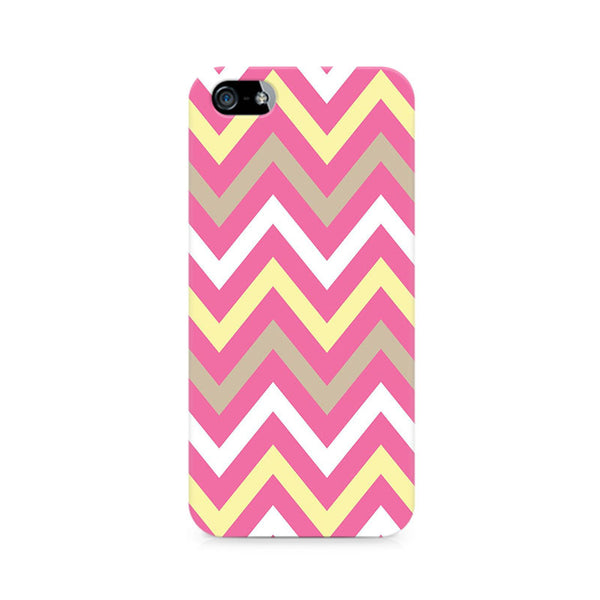 Yellow And Pink Broad Chevron Premium Printed iPhone 5/5S Case
