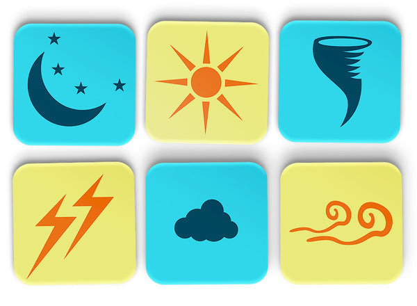 Weather Illustrations Coasters Set Of 6