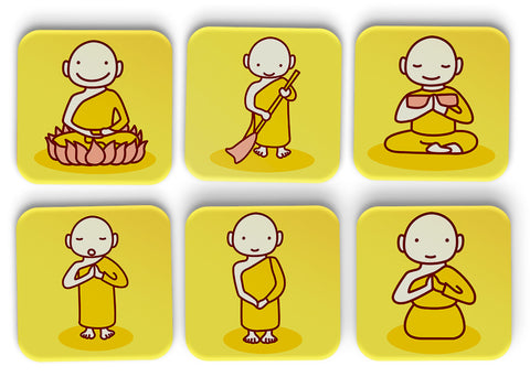 Monk Coasters Set Of 6
