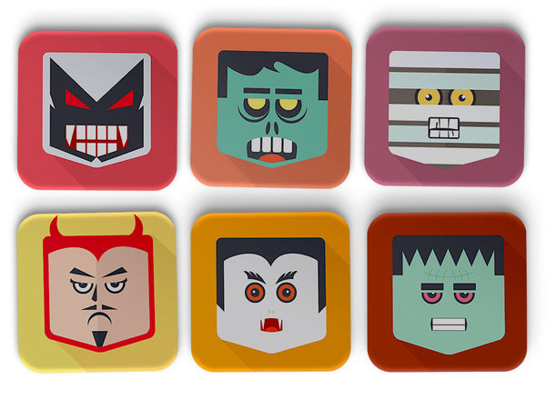 Demon Faces Coasters Set Of 6