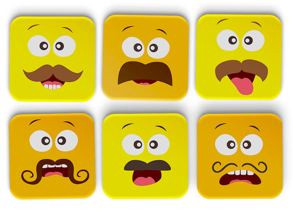 Funny Faces Coasters Set Of 6