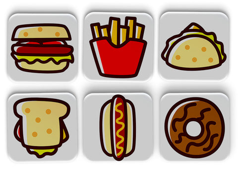 Food Coasters Set Of 6