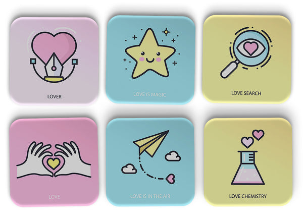 Love Illustrations Coasters Set Of 6