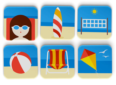 Beach Illustrations Coasters Set Of 6