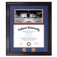 Auburn Diploma Frame with A-Day 2013 photograph in Walnut or Mahogany - Quick and Easy Installation