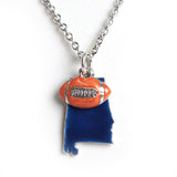 Blue Alabama with Orange Football Necklace