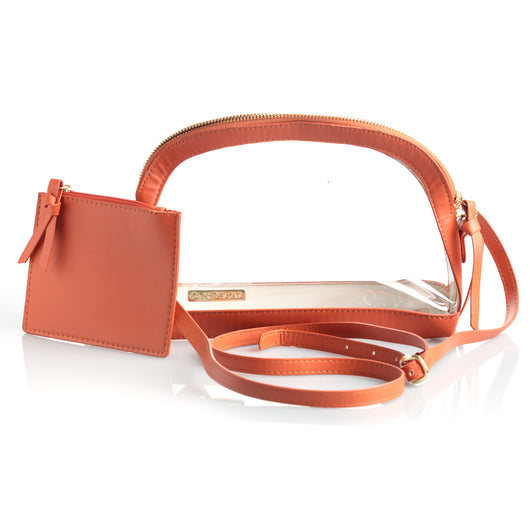 Half Moon Orange Clear Crossbody