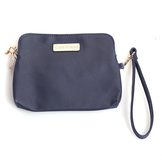 Navy/Tan Catch-All Wristlet Purse