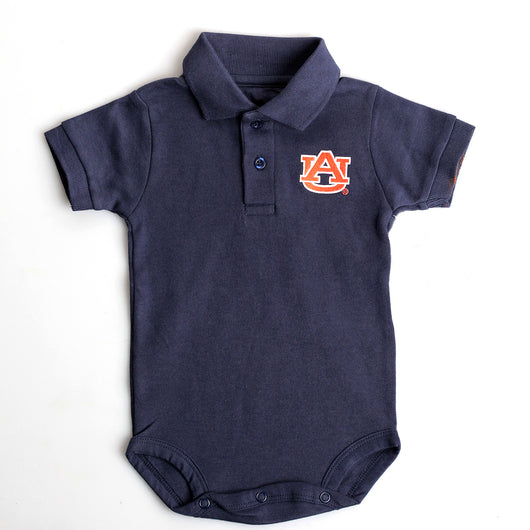Navy Polo Bodysuit with AU Logo