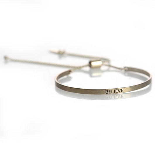 BELIEVE Worn Gold Bracelet