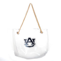 Auburn Clear Handbag w/gold Chain