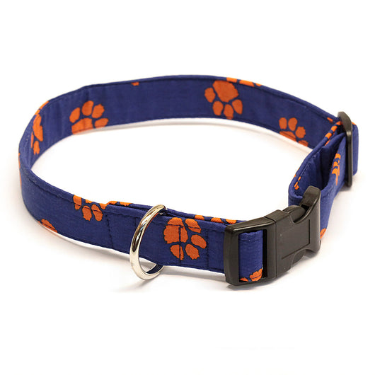Navy Dog Collar with Orange Paw Prints