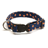 Navy Dog Collar with Orange Polka Dots