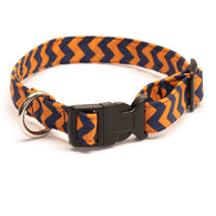 Orange and Blue Chevron Dog Collar