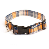 orange and blue plaid dog collar
