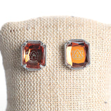 Auburn Orange Gem Etched Stud