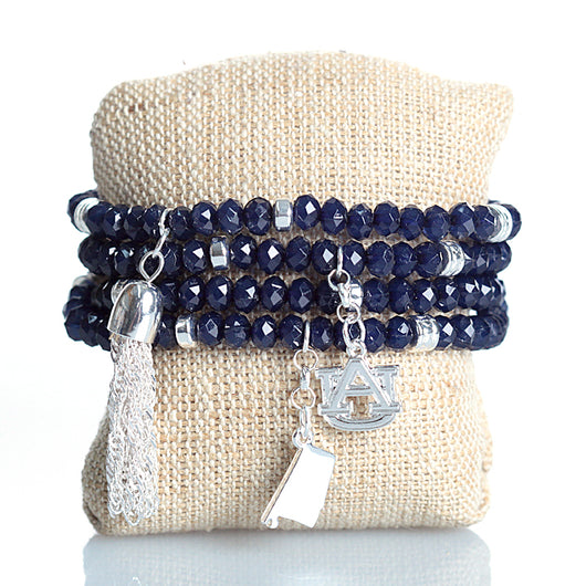 Auburn Navy Stretch Triple Stack Bracelet