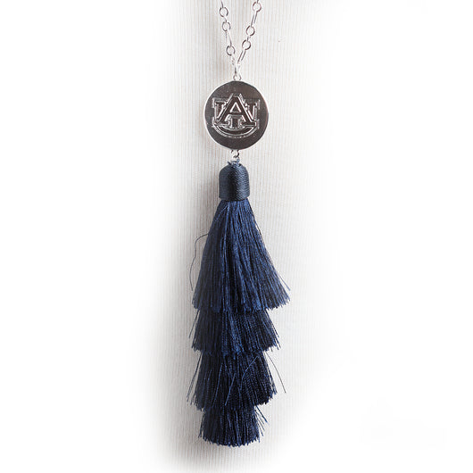 Navy Tassel Necklace w/AU Logo