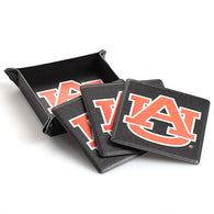 Auburn Leather Coaster Set of 4 in Black