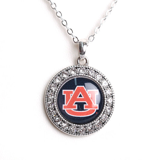 Auburn Tigers Crystal Round Necklace
