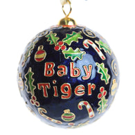 Auburn Baby Tiger with Blue Background Cloisonne Ornament