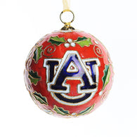 Auburn Orange Merry Christmas/AU Logo Holly Cloisonne Ornament
