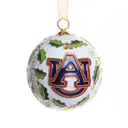 Auburn White Merry Christmas/AU Logo Holly Cloisonne Ornament